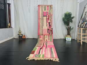 "Moroccan Boujaad Handmade Runner Rug 2'5""x11'2"" Abstract Pink Wool Berber Carpet"