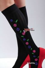 Colorful Floral Pattern Knee High Socks Stockings Black Pink Purple One Size