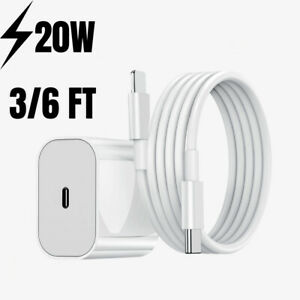 For iPhone 12 11 Pro Max iPad 20W Fast Charger Wall Power Adapter USB-C PD Cable