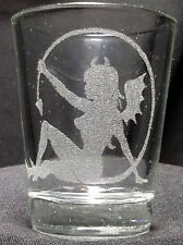 Bad angel etched shot glass. Can be personalized. Different designs available!
