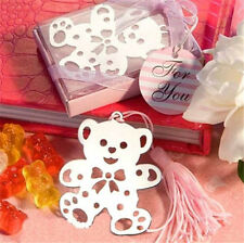 Creative Pink Bear Exquisite Alloy Bookmarks With Ribbon Box Cute Gift ☆
