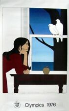 """Will Barnet 1976 Montreal Olympic Poster 42"""" x 25"""" Original Two White Doves"""