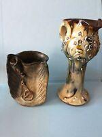 2 x Unusual Vintage Studio Pottery -  vases