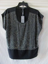 Eileen Fisher U-Neck Cap Sleeve Silk Top-Sequined Rivulet-Black-Size PM-NWT $318