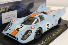 FLY C52 GULF PORSCHE 917 K MONZA 1ST PLACE NEW 1/32 SLOT CAR IN DISPLAY CASE
