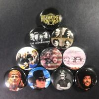 "Highwaymen 1"" Button Pin Set Johnny Cash Willie Nelson Waylon Jennings Country"