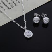 cute nice 925 silver Crystal wedding necklace earring jewelry set charm women