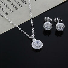 cute nice 925 silver Crystal wedding necklace earring jewelry set charm women