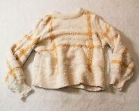 Lauren Conrad Women's Sherpa Crew Neck Sweater CD4 Yellow/Cream Large
