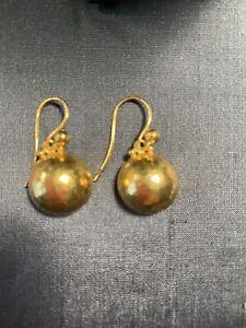 Gurhan  24 Kt Gold Stunning Amulet Drop Earrings