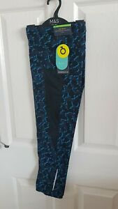 Ladies Blue Cropped Gym Leggings Size 12 From Marks And Spencer Brand New