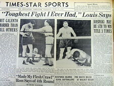 2 1939 newspapers JOE LOUIS defeats TONY GALENTA Heavyweight Boxing Title Fight