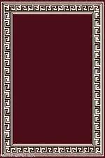 5x7  Area Rug  Modern Greek Key Design Burgundy Carpet  with Border  New