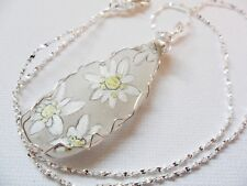 Edelweiss flower - Hand painted Sea glass necklace - 18 inch silver plated chain