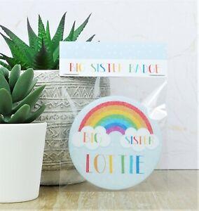 Personalised Rainbow Big Sister Badge
