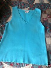 Faded Glory * Bright TURQUOISE Blue * crochet v-neck * Sweater TANK * M L 12/14