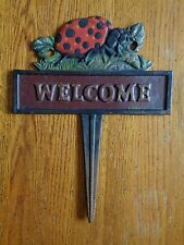 Vintage Cast Iron Welcome Sign Ladybug Outdoor Garden Decor