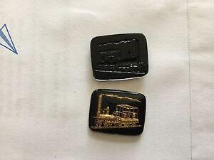 Vintage Crystal Intaglios Black w Gold Antique Steam Locomotive 16 Pieces 27 mm