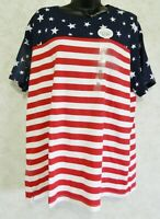 Kim Rogers Ladies Perfectly Soft Patriotic Tee Size XL Red White Blue Stars NWT