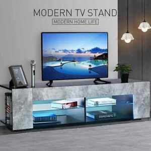 "57"" High Gloss LED Lights TV Stand Glass Shelves Entertainment Center Cabinet"