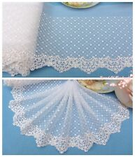 """7""""*1Y Embroidered Tulle Lace Trim~Sequined~White~Sewing/Wedding/Bridal~Gorgeous~"""