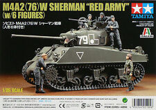 "1/35 Tamiya 25105 - M4A2(76)W Sherman ""Red Army"" (w/6 Figure)  Plastic Model Kit"