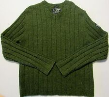 ABERCROMBIE & FITCH Mens Wool Knit Ribbed V-Neck Sweater Forest Green EUC Sz XL