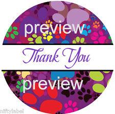 Puppy Dog Paw Print Design 112 Thank You Sticker Labels Laser Printed