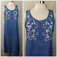 Vintage Floral Embroidered Size Large Denim Overall Dress Jean jumper Modest