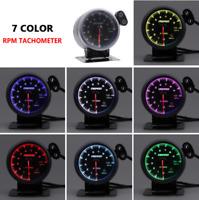 "2.5"" 60mm Universal Car Tacho Rev Counter Gauge Tachometer 7 Color LED RPM Light"