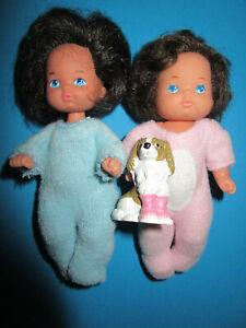 B423) 2 ALTE ORIGINALE BARBIE HEART FAMILY SHELLY PÜPPCHEN BABYSPECK MATTEL 1976