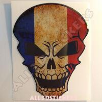 Pegatina Calavera Bandera Francia Adhesivo Relieve Coche Moto Tablet Skull  3D