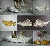 Pair Of Ornate Vintage Shabby Chic Angel Wings Cherub Wall Art Garden Decoration