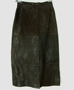 BANANA REPUBLIC LEATHER VINTAGE TAG PENCIL MIDI SKIRT SIZE 8 BROWN 232
