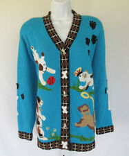 STORYBOOK KNITS DOGS CARDIGAN SWEATER LARGE DOG BUTTONS RAMIE COTTON ACRYLIC