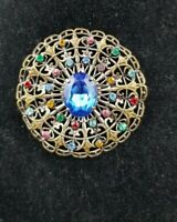 Vintage Art Deco Czech large Flower Blue Rhinestone Statement Brooch