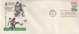 1979 #U596 15c OLYMPIC GAMES POSTAL STATIONERY FDC ART CRAFT CACHET UA GEM!