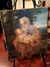 Antique Old Master Oil Painting St. Joseph Baby Jesus Christian Religious