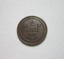 SWEDEN. 2 ORE, 1897. KING OSCAR II.