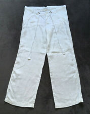 Mamas & Papas ~ UK10L ~ White 100% Linen Maternity Trousers ~ Long Length