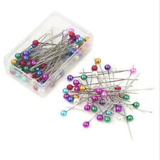 100Pcs Dressmaking Sewing Pins Straight Pins Round Colorful Head Pearl  Corsage