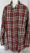 Cinch Mens XL Long Sleeve Button Down Shirt Red Plaid Western w Logo