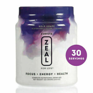 Zurvita- Zeal for Life- 30-Day Wellness Canister- Bold Grape NEW