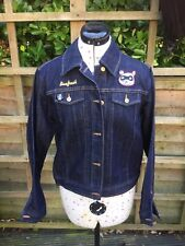 BOXFRESH ladies Denim Jacket. BRAND NEW. rockabilly Patches. Size Large (12-14)