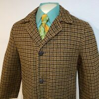Vtg 50s 60s Campus Stadium Coat WOOL Pea Trench Midcentury Fur Mod Mens 38 SMALL