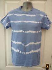 GILDAN Ladies Mens Size S 10 12 Blue Striped Cotton Festival Tie Dye T Shirt Top