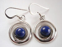 Round Lapis in Circle Dangle Earrings 925 Sterling Silver Corona Sun Jewelry