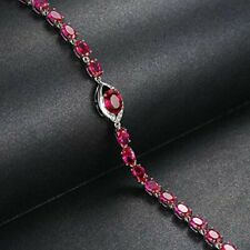 9.27 cts Ruby Red Oval Womens Bracelet 14k White Gold Plated Silver & Cz Rounds