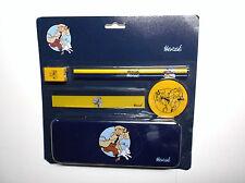 Tintin Rare pack Scolaire plumier Crayons latte Gomme ETAT NEUF sous blister