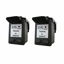 2X HP 21 21XL Black Reman Ink Cart for HP DESKJET 3910 3915 3918 3920 3930v 3938